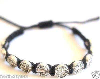 Saint St Benedict Protecction Medal Rosary Bracelet Religious Silver Black Cord