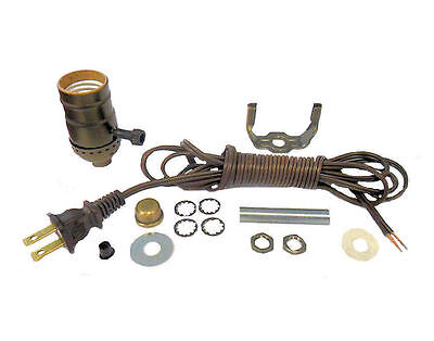 ANTIQUE BRASS-PLATED LAMP KITS: OFF/ON SOCKETS, 8' BROWN CORD  TD-396XAB