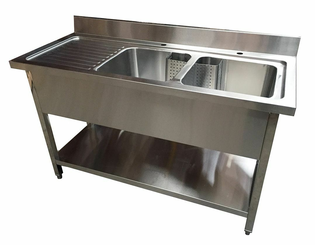 1400mm x 600mm COMMERCIAL STAINLESS STEEL CATERING LHD DOUBLE BOWL ...
