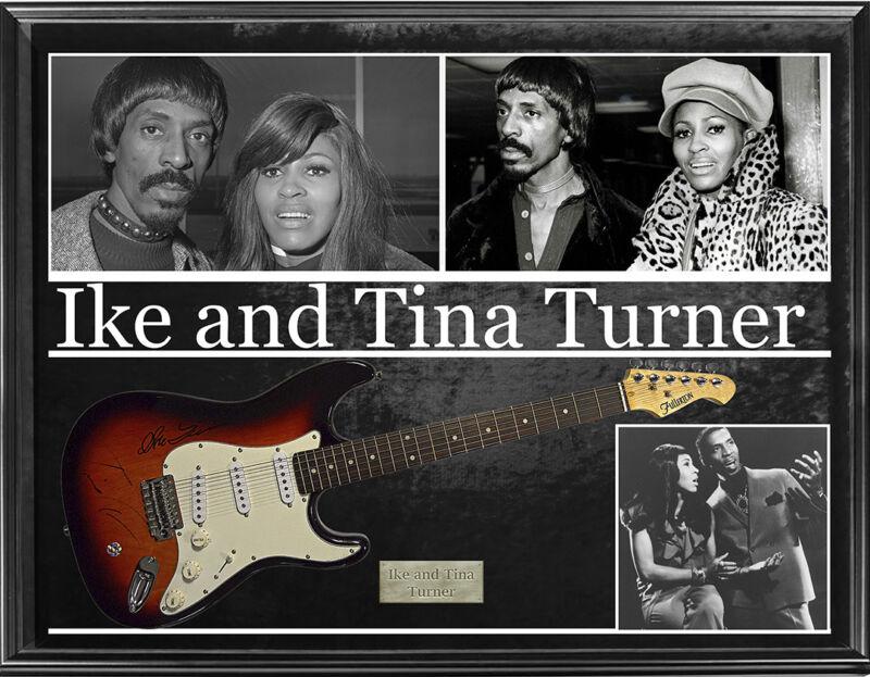 Ike  Tina Turner Signed Sunburst Fullerton Guitar + Custom Display AFTAL UACC R