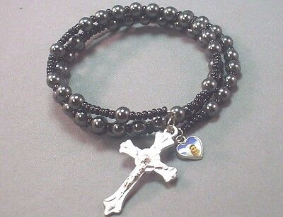 (Christian Bracelet BLACK Hematite Memory Wire Silver Crucifix Medal GREAT GIFT!)