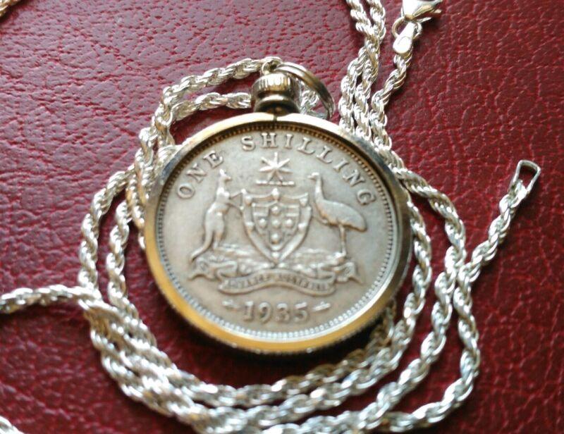 "Nice 1935 Australia Shilling Silver Pendant & Italian Made 28"" Silver Rope Chain"