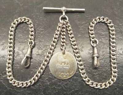 Old Vintage Silver Curb Link Double Albert Pocket Watch Chain & Coin Fob.