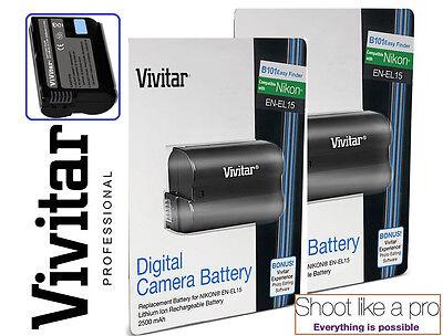 New 2-Pcs Hi Capacity EN-EL15 Li-Ion Battery For Nikon D7500 D500