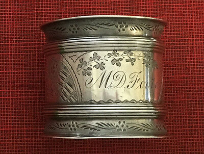Antique ORNATE Sterling Silver Engraved VICTORIAN NAPKIN RING Willie 1878