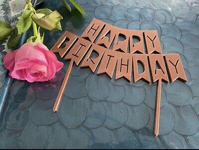 Cake Topper Deko Torte Happy Birthday Kupfer Wimpel Girlande Geburtstag Kuchen