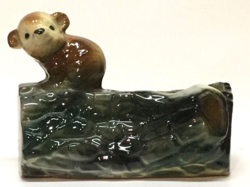 Vintage, Bear Cub on Log Ceramic Planter, VGC, Has Crazing