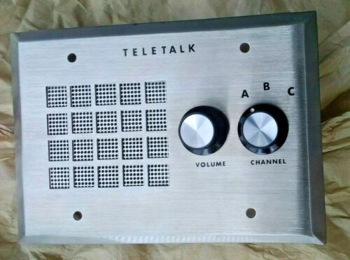 Teletalk by Faraday 3 Channel Program Speaker Panel w Vol Knob Vintage Audio