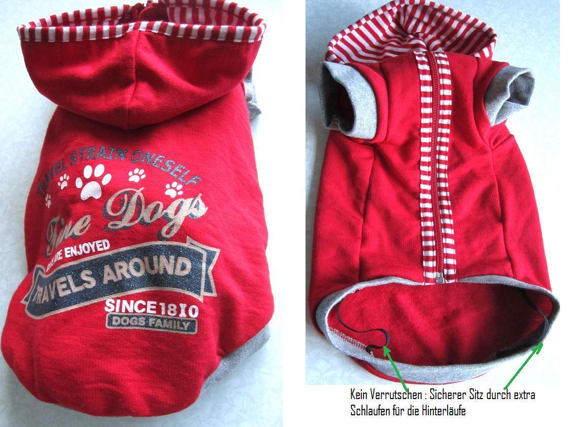Hunde Pullover pulli in rot aus Baumwolle für dackel S M Wedel shop 112128096197