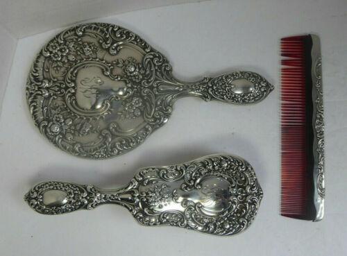 Vintage Gorham Sterling Silver Dresser / Vanity Set Mirror Brush & Comb