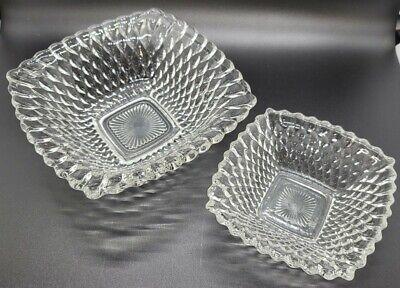 2 pc Nesting Vintage Clear Pressed Indiana Glass Diamond Point Bowl Dish Trinket