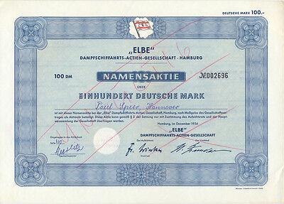 Hamburg Elbe Dampfschiffahrts-AG Namensaktie 100 DM 1956 Schiffahrt
