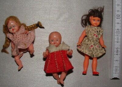 3 alte Püppchen 1960er-Jahre zwei davon mit Schlafaugen Puppenkleider