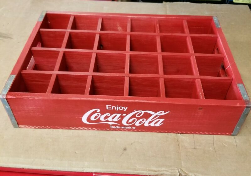 Coca-Cola Wooden Red Soda Pop Crate Carrier Box