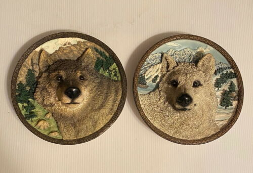 The White Wolf & The Wolf, Plate Faces Of The Wild Bradford Exchange. 1994, 1995
