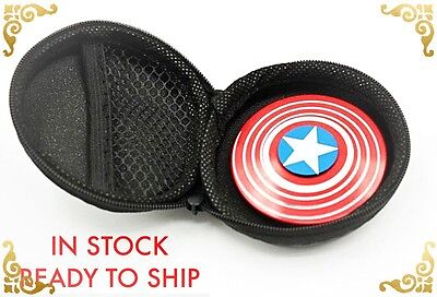 Captain America Shield Metal Fidget Hand Spinner EDC ADHD Autism Tri Focus Toy