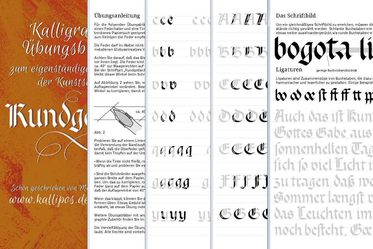 Kalligraphie Alphabet Übungsblätter Anleitung Rundgotisch Schreibfeder pen nibs