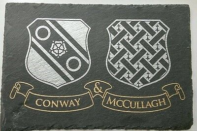 Personalised Hand Crafted  Slate Plaque Coat of arms Wedding Anniversary (Personalized Slate Wall Plaque)