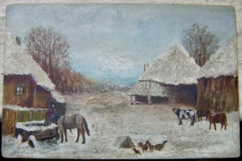 "late 19/early 20c European winter farmyard scene , signed, ""de shon"" & Nutewal?"