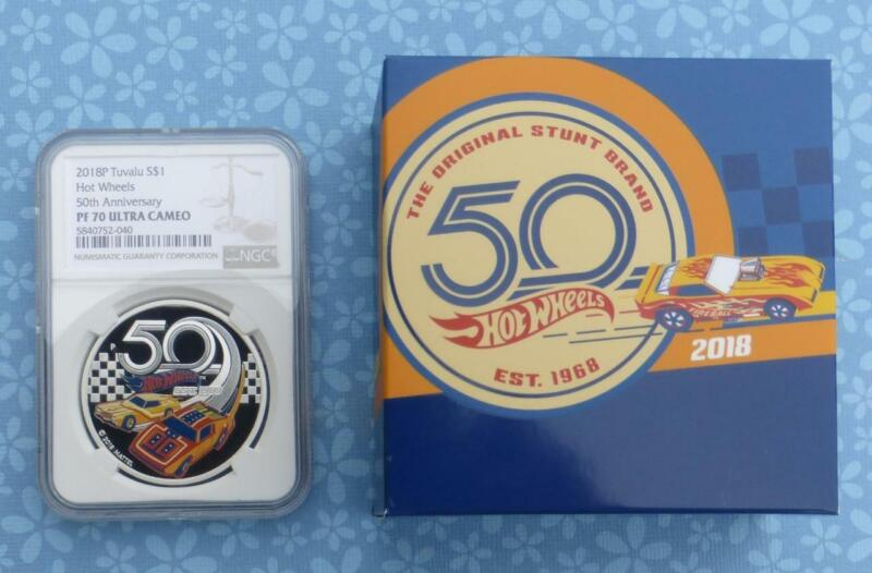 2018 NGC PF 70 U-Cam Mattel Hot Wheels 50th Anniv. $1 Tuvalu, 1 oz .999 Silver