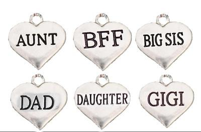 Custom Family Member Silver Heart Charms Add To Any Jewelry Item All 26 Letters (Customize Items)
