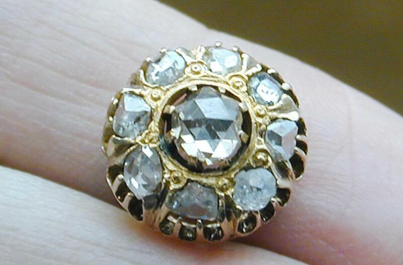 10k Georgian Rose Cut & Uncut Diamond Cluster For Pendant Or Ring Top 9 Stones