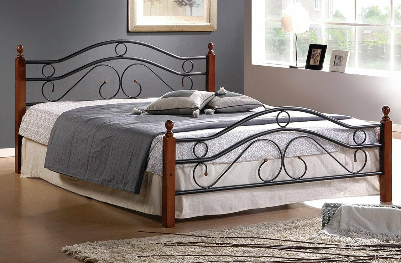Home Life Metal Bed Frame w/ Wood Posts and Mattress Support