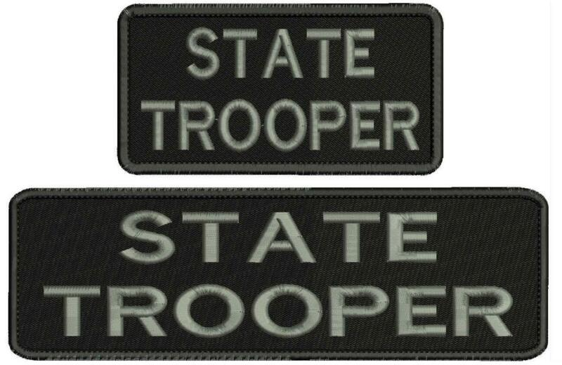 state trooper embroidery patches 3x10 and 3x6 hook grey