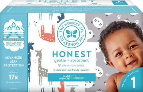 The Honest Company Club Box Size 1 -  80 Count, Pandas & Safari Print with Tru..