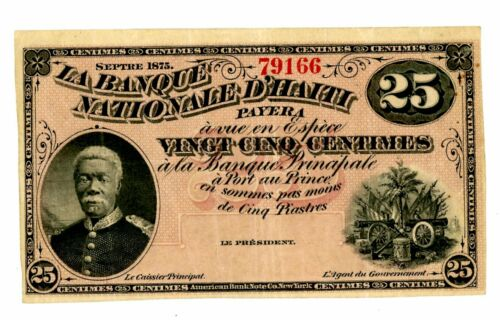 Haiti  ... P-68 ... 25 Centimes ...1875 ...  Choice *VF-XF*. Remainder.