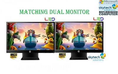 "2 x 22"" Cheap Monitor VGA TFT LCD Office Laptop Gaming Computer PC Dual Monitor"