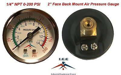 Air Compressor Pressure Hydraulic Gauge 2 Face Back Mount 14 Npt 0-200 Psi