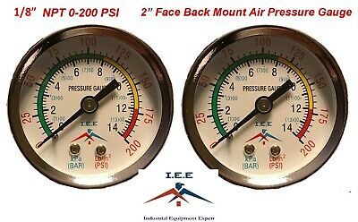 2 Air Compressor Pressurehydraulic Gauge 2 Face Back Mount 18 Npt 0-200 Psi