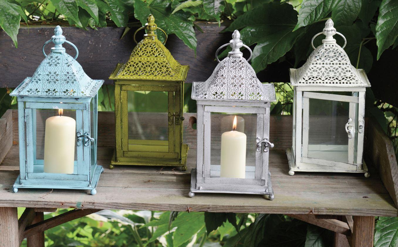 Deko Laterne 31cm Kerze Licht Ambiente Garten Dekoration Glas Metall   950399207