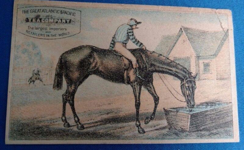 Antique Vintage Tea Trade Card Equestrian Advertising horse racing gambling
