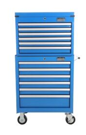 Halfords Industrial Blue Tool Box Chest Set - Roll Cab and Top Box