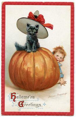 Black Cats Around Halloween (Halloween Greetings Brundage Black Cat on JOL Boy Peeking Around)