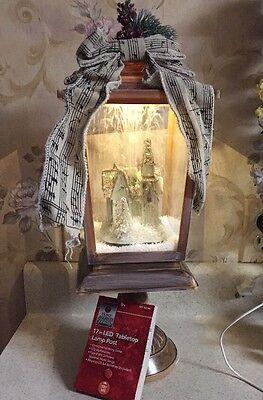 "New Christmas LED Animated Holiday Blow Snow Church RARE 17"" Musical Lamp Post"