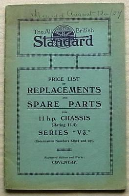 STANDARD 11 HP CHASSIS V3 Car Illus Replacement Spare Parts Price List 1920s