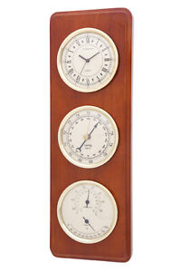 Wooden Weather Station CLOCK,BAROMETER,THERMOMETER, HYGROMETER -929 Piano Finish