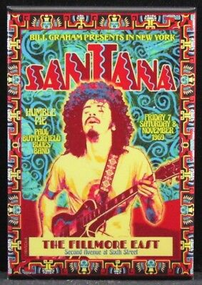 """Santana Concert Poster 2"""" X 3"""" Fridge / Locker Magnet. Fillmore East New York"""