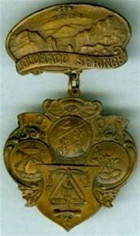 IOOF COLORADO SPRINGS CO 1924 GARDEN OF GODS ODD FELLOWS BADGE EL PASO COUNTY