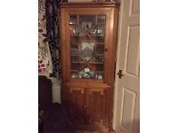 Pine corner display cabinet/cupboard
