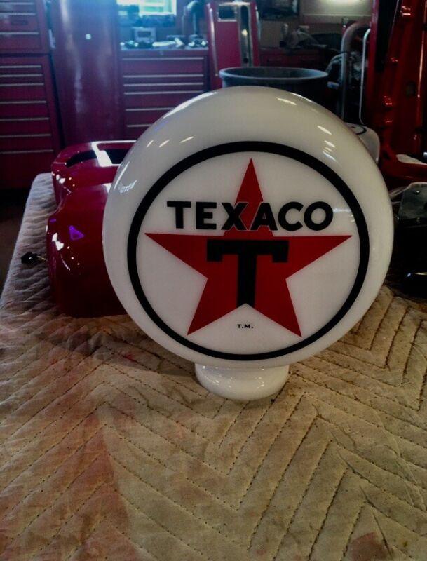 "Eco Airmeter Texaco Star  Mini Globe Milk Glass 9"" X 3""  Gas Pump Vintage Style"
