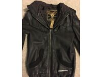 XS Ladies Superdry brown leather hooded bomber jacket