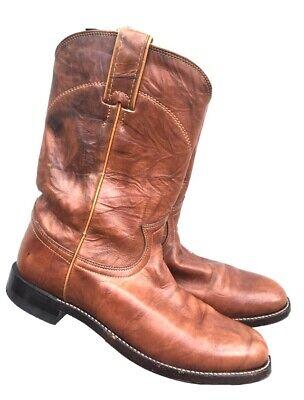 Vintage Justin Roper boot tan leather Western Cowboy boot UK 6.5 US 7.5