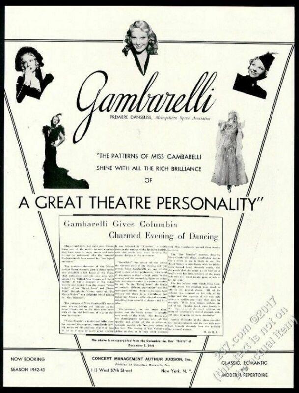 1942 Maria Gambarelli 5 photo USA dance tour trade booking ad