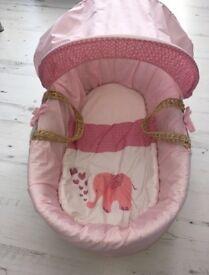 PINK BABY GIRL MOSSES BASKET