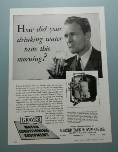 "1945 GRAVER WATER CONDITIONING ""HOW DID YOUR DRINKING WATER..."" SALES ART AD"