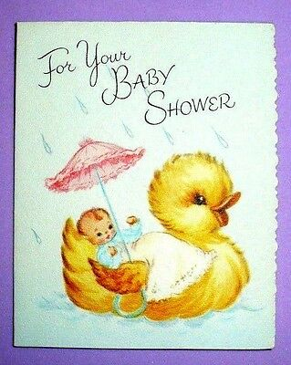 VINTAGE 1950'S UNUSED FOR YOUR BABY SHOWER MINI CARD GIBSON-NORWALK  ADORABLE